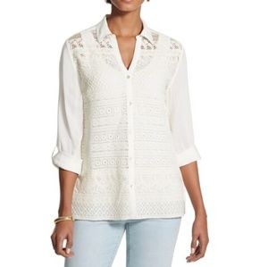 Chico's Adelaide Crocheted Blouse